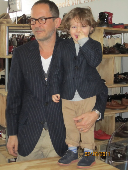Mark McNairy and his son Rider, who's giving Aila Wang a run for her most stylish young'un title.