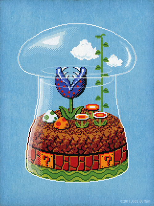 Plant life of the Mushroom Kingdom has been bottled up for your viewing pleasure thanks to artist Jude Buffum. Toadstool Terrarium by Jude Buffum (Flickr) (Facebook) (Twitter) Via: brandonnn | drawnblog