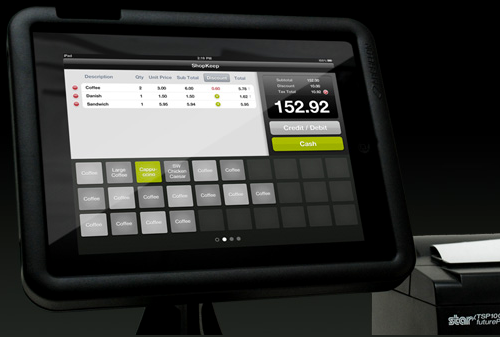 Point of Sale, on the iPad The iPad POS is designed for coffee shops, bakeries or any specialty retail shop with fewer than 150 items. It prints receipts and pops the cash drawer like a standard register, but it takes up very little space.