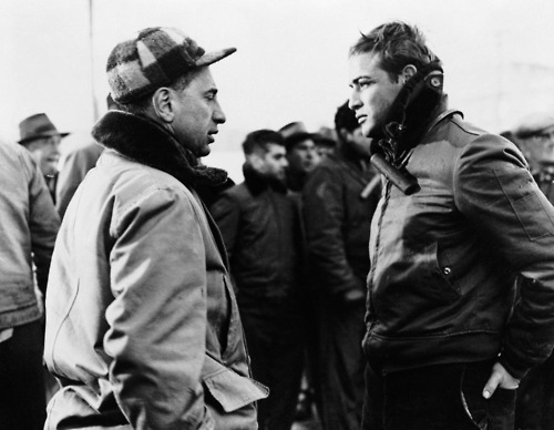 Elia Kazan and Marlon Brando on the set of 'On The Waterfront' (1954)