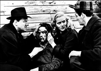 Karl Malden, Marlon Brando, Eve Marie Saint, and Director Elia Kazan on the set of 'On The Waterfront' (1954)