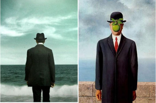 I always think of Magritte's 'The Son of Man' painting whenever I watch the opening Boardwalk Empire sequence….that and how awesome Nucky's shoes are.