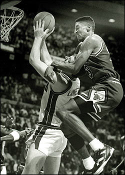 Little Known Fact: Bill Laimbeer once entered the NBA Dunk Contest. He came in last after not being able to complete his dunk in the allotted time. Unfortunately, Bill thought it would be a good idea to attempt a 360 dunk, while Scottie Pippen had him in a sleeper hold.   (W.W.)