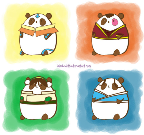 westernairtemple:  something-even-lighter-than-air:  airnomad:  ATLA Pandas  lol  I WANT THEM ALL