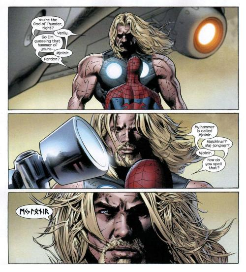 nontemetismessor:  Oh Thor, you rascal!  M-J-L-O-N-I-Rif you translate the runes verbatim.I wonder why laguz comes before odala…  Linguistics aside…that's pretty troll-like.Loki would be proud.