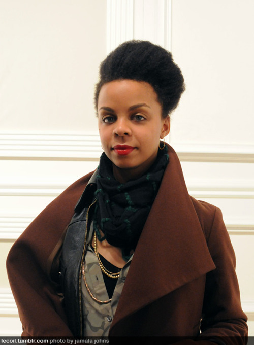 Hosanna, art buyer, at the fall 2011 Suno Presentation during NY Fashion Week. Check out her recent interview on Style.com (with a photo by le coil favorite, Kwesi Abbensetts).