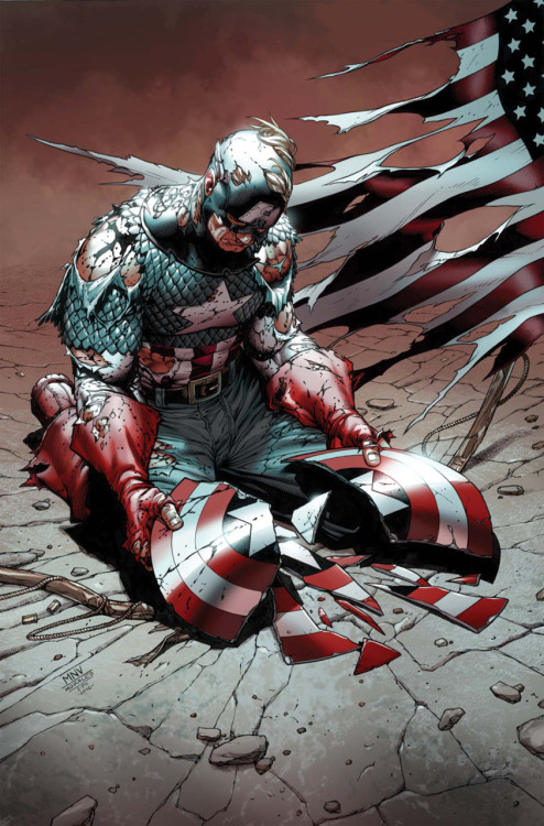Fear itself #2 (variant cover) by Steve McNiven  What the…how can this be? Say it ain't so, Cap.