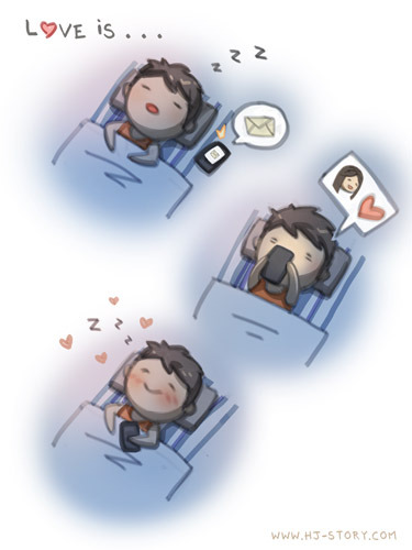 hjstory:  Happy SMS This is me most of the time at night, I make sure the phone's like right next to my ear so I don't miss any call or messages hehe.  Gives me a smile each time~ Facebook | Twitter | Deviantart