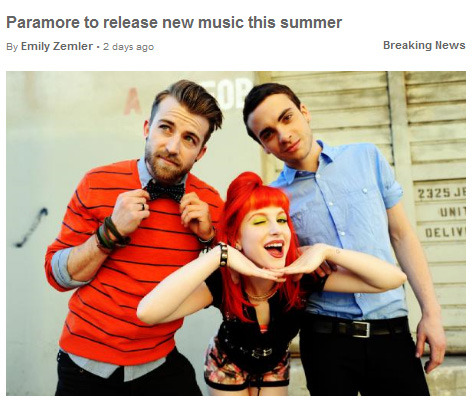MUSIC NEWS: NEW MUSIC FROM PARAMORE