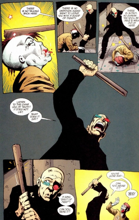"""Listen to the chair leg of truth!"" Transmetropolitan #50. art by Darick Robertson.  The first time I read this I about fell out of my chair from laughter."