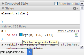 Chrome - In the Chrome Developer Tools CSS panel, clicking on a colour will cycle through a range of different formats including hex, rgb and hsl. /via gilbitron