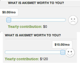 Akismet - Moving a slider between $0 and $10/month dynamically updates a little smiley face. /via dhs