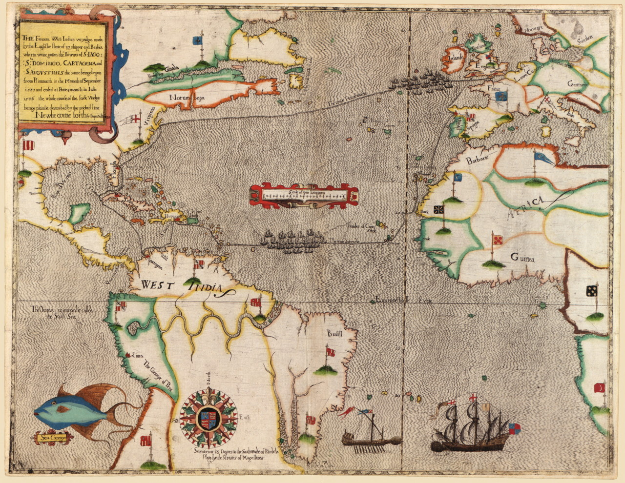 cartographymaps:  Baptista Boazio, 1589, Route of Drake's Voyage  In the year 1585, the pirate Sir Francis Drake sailed out of Cape Verde in Western Africa destined for the Caribbean, where he sacked the Spanish colonial ports of Cartagena de Indias (in present-day Colombia), Santo Domingo (in present-day Dominican Republic) and San Agustín (in present-day Florida, USA). His trip was mapped and illustrated by the London-based Italian cartographer Baptista Boazio. Boazio's map of San Agustín (not shown here) is one of the earliest printed European depictions of any place in what later became the United States of America.