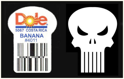 Logos: Dole banana sticker vs. The Punisher's skull (Submitted by scrambler)