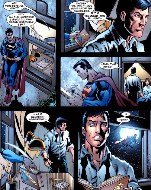 discowing:  Superman does Dick's homework, from Superman 700.  This was such a good short-story! From what I remember, it was the only good thing about Superman #700, but I still loved it a lot. Don't worry, the ending is perfect. Batman is a detective and it takes much more than that to fool him. But Clark is still awesome.