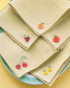button fruit napkin embellishment