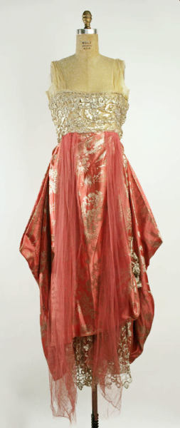 Onto the second part of the request: late 1910s. Evening dress, 1915-16.