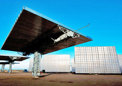 electricpower:  speshal-k:  New Solar Panel Array Doubles the Energy and Halves the Cost of Traditional Solar | Inhabitat - Green Design Will Save the World  NREL just announced a huge breakthrough in making solar electricity competitive with fossil fuels as they unveiled the Amonix 7700 Concentrated Photovoltaic or CPV Generator. We cover a lot ofsolar technologies at Inhabitat, but what makes this system so special is the technology behind it – Amonix has basically taken space grade solar cells and put them under a lens here on earth. The resulting system tracks the sun and produces nearly double the power of traditional solar electric arrays at utility-scale installations. The technology has the added benefit being the least land-intensive form of solar power in the world.