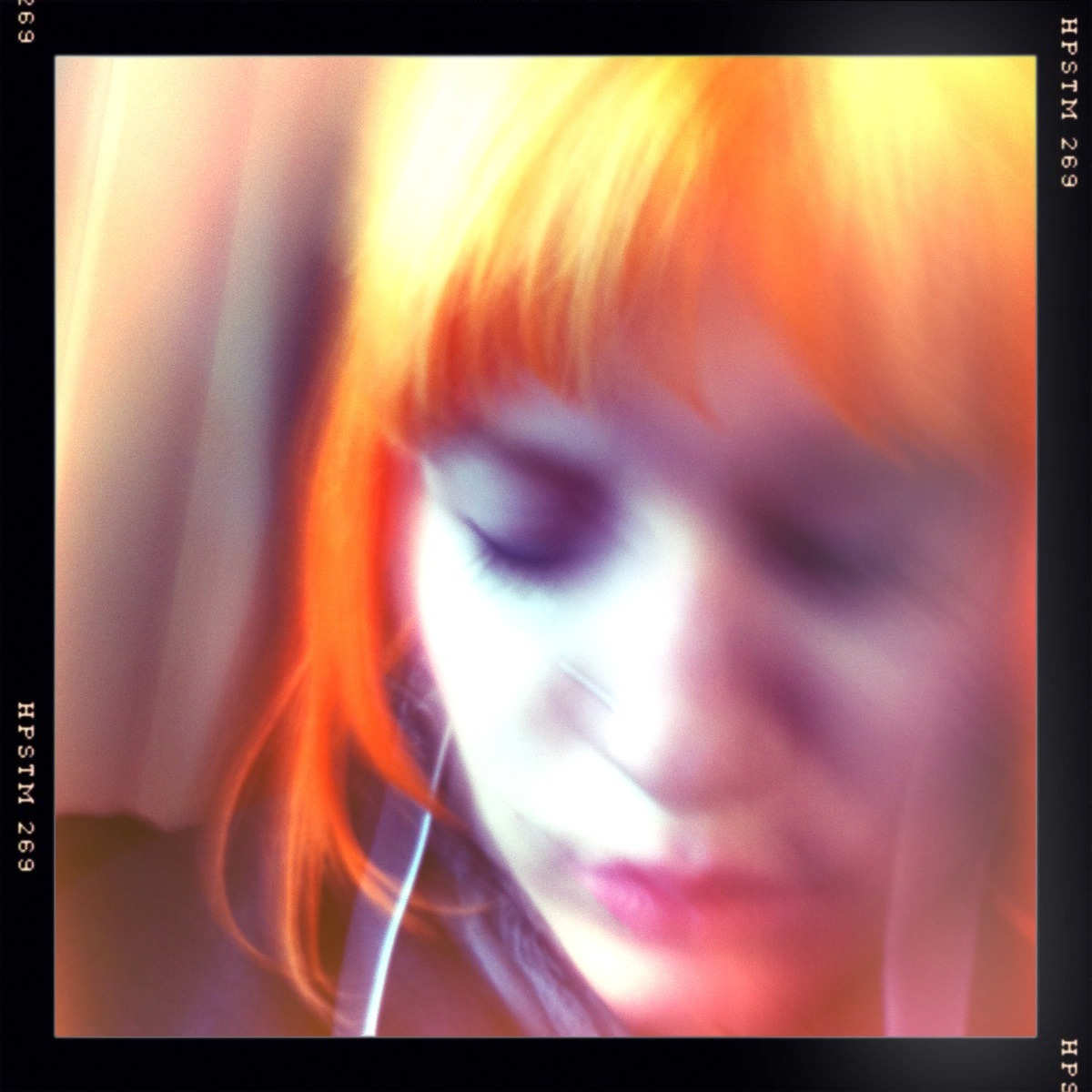 Bored On The Train Chunky Lens, Pistil Film, No Flash, Taken with Hipstamatic