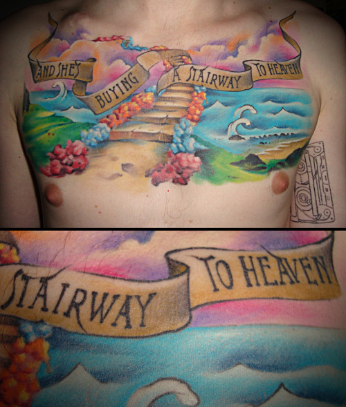 my second tattoo and yet the biggest one is a tribute to led zeppelin's Stairway to heaven.. and i just love it:) it's done by Fish in Freihand Tattoo Ostrava, in Czech Republic