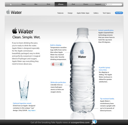 Thank you Scoopertino! The perfect new #Apple product! #itsjustwater