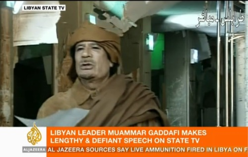 I'm currently fascinated and, honestly, frightened by Muammar Gaddafi's speech to Libya right now, which has been going on for more than hour. He's essentially promising to shoot any people that protest his regime in order to maintain his position. He blames everything that's happening in Libya on Israel, the United States and other foreign entities. Al-Jazeera is picking and choosing what it wants to translate, leaving out the most inflammatory statements, specifically what I mention in the previous paragraph. For background on Libya, read this from Mother Jones. For what the United States and other nations can/should do, read this from Foreign Policy's Marc Lynch. For more options, read this from POMED.