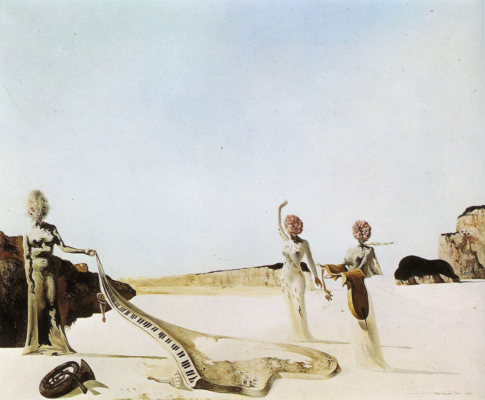 surrealism:Sunday Dalí: Three Young Surrealistic Women Holding in Their Arms the Skins of an Orchestra, 1936. Oil on canvas, 54 x 65 cm. On loan to the Salvador Dalí Museum, St. Petersburg, Florida.Part seven of the ongoing investigation of Dalí's fascination with pianos.The melting cello and the skin of the piano are references to the Pichot family's outdoor concerts. The tuba may be a reference to René Magritte's burning tubas.
