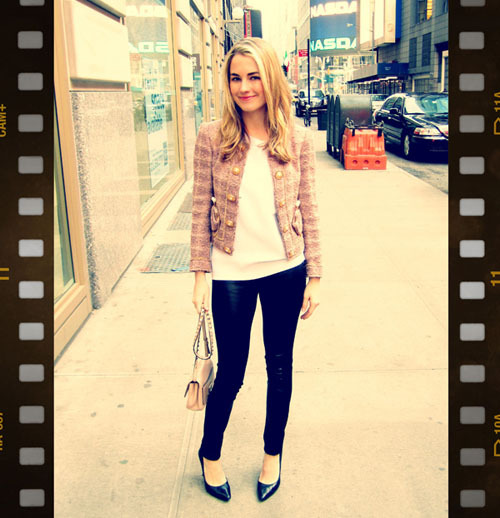 AW11 FASHION WEEK STREET STYLE.  Marie Claire Market Editor, Amanda Hearst in our AW10 Combo Leather Leggings.