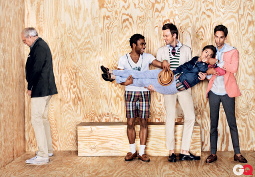 howtotalktogirlsatparties:  The cast of Community in Gant by Michael Bastian.  I was just reading this yesterday