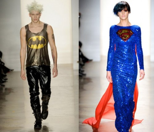 """Designer Jeremy Scott's Fall 2011 collection borrowed heavily from pop culture, and included these superhero-inspired looks (among others). The full collection can be seen here."""