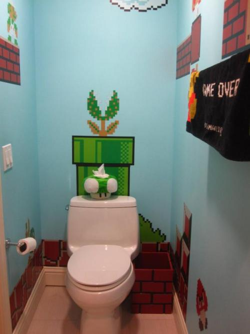 "I would do this!  realashleyskyy:  gamefreaksnz:  I just painted my bathroom. What do you think? I call it ""The princess's castle""… Full set of pics here.  awesome :) check out the other pics link above ^"