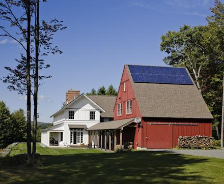 The classic white house + red barn combination Albert, Righter & Tittmann Architects via Remodelista