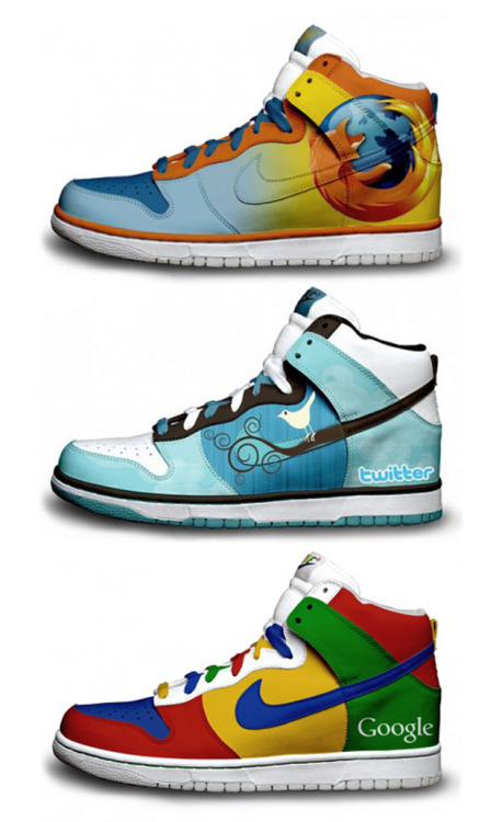 Nike Firefox shoe design? Or do you prefer the Twitter Trainer? There is also the option of the colourful Google shoe. Check out this designs!
