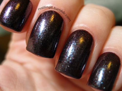duri - kingdom of shadows this one is similar to orly - galaxy girl which i never ended up buying. i found an amazingly cheap beauty supply with a whole WORLD of nail polish in sf, and this little bottle of wonder is one of the newest babies i brought home. i love it a lot, my nails kind of look like weird bruises with a teal shimmer.