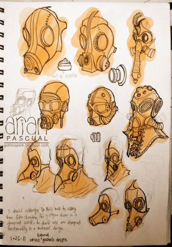 day 46: designs of gas masks inspired by this list of steampunk gas masks.