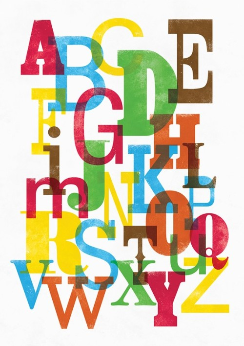 wordsandeggs:  Alphabet print by Jan Skácelík, available on Etsy.