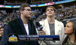 nbaoffseason:  On the other side of the trade, here's Timofey Mozgov looking unfazed (his usual look) and a very very swagged out Danilo Gallinari in what appears to be a velour bathrobe straight out of Ghostface's closet. Sad to see you leave New York, Gallo! (via @MikePradaSBN)