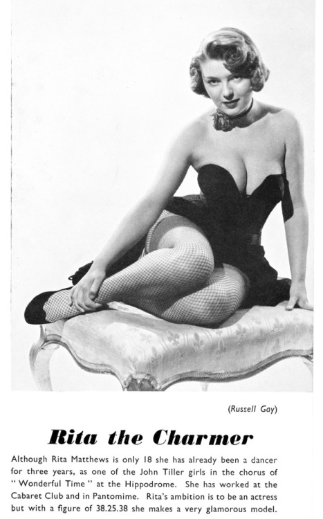 hoodoothatvoodoo:  mudwerks:  Vintage Scans: Rita Matthews From Foto, unknown year or issue as cover is missing.