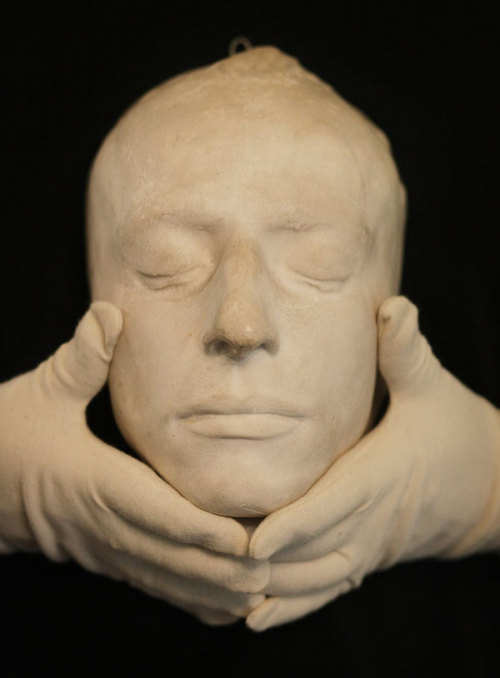 "John Keats' death mask, 23 February 1821 Keats died of tuberculosis one hundred and ninety years ago today, at the age of twenty-five. He asked that upon his burial in Rome's Protestant Cemetery near Gaius Cestius' pyramid, his name do not appear on his gravestone. In its stead, an inscription from Francis Beaumont and John Flecther's play Philaster (1611) reads: ""here lies one whose name was writ in water""."