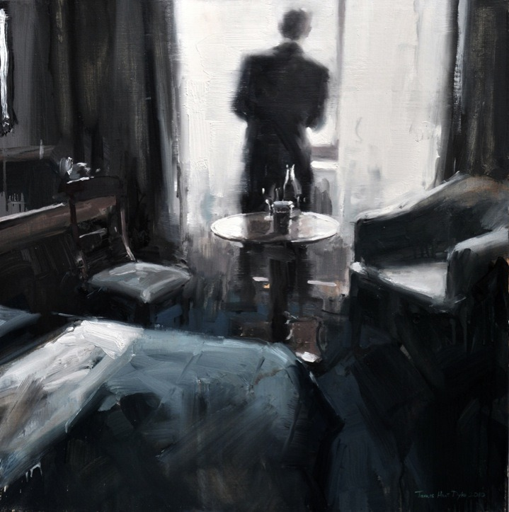 James Hart Dyke, Waiting in the hotel room, 2010, oil on canvas 75x75cm James Hart Dyke was offered a mission by Her Majesty's Government: to go undercover with MI6, the Secret Intelligence Service, and report on the life of undercover agents in paintings and drawings.