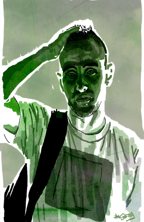 "thestray:  Portrait I did of fellow artist ""Biotwist""."