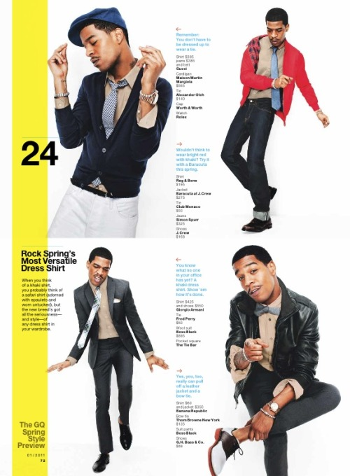 Kid Cudi Rockin a Red Baracuta G9 Harrington Jacket in GQ Magazine