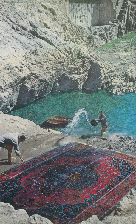 Rug Washers in Tehran, Iran, 1960