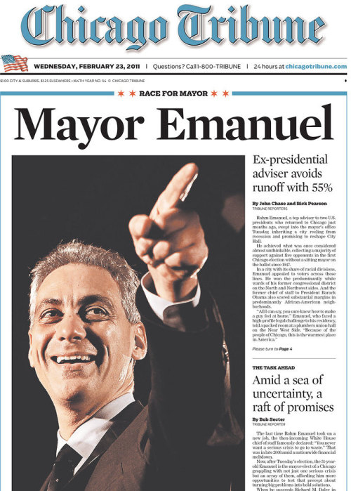 "frontpages: Mayor Emanuel Amid a sea of uncertainty, a raft of promises Defiance in face of chaos Rallies spread in Midwest Coroner pleads guilty WEATHER  This is a ""look at me, bitches"" cover if there ever was one."