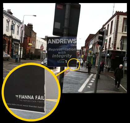 Taken off Pearse Street today> Fianna Fail logos are getting progressively smaller with less green on their posters as the election continues.