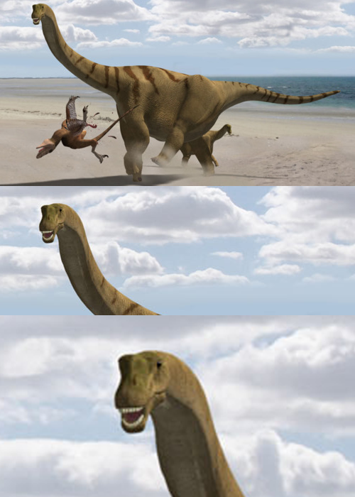 "Newly discovered dinosaur Brontomerus mcintoshi is the best thing ever:     ""It may be that males lined up next to each other, side by side, and kicked the crap out of each other,"" said Mike Taylor, a palaeontologist and lead author on the study at University College London.   Look at that dude's face.  He knows how awesome he is."