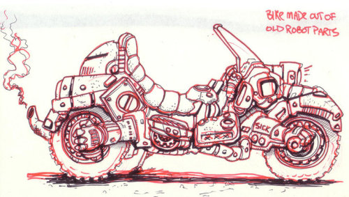 Gabriel Bautista is a Comic Artist in Chicago, IL. This is his robot bike  he developed for a comic he draws for Image Comics. http://facebook.com/charleylovesrobotshttp://galvo.tumblr.comhttp://yogabogabo.com