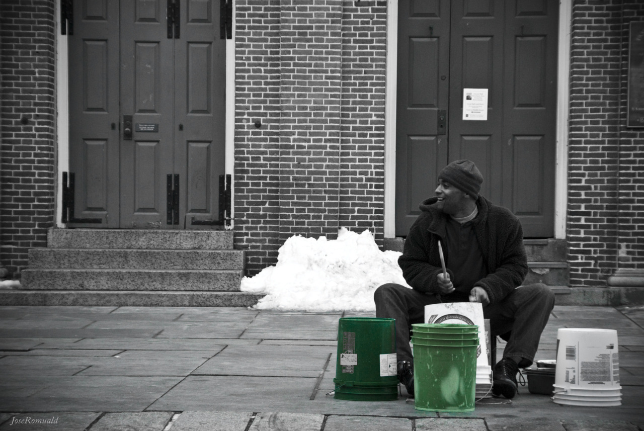 A semi-talented drummer on the streets of Boston.  Taken in Boston, MA, USA.   - JoseRomuald