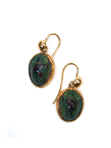 More actual beetle earrings, these ones from the turn of the century.