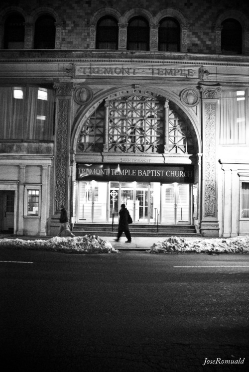 """Boston by Night"" Some Black&White's that I took in Boston. Yes yes, I know its super grainy, but I was trying to make it look a bit like Film Grain, but upping the ISO to 1600.  -JoseRomuald"